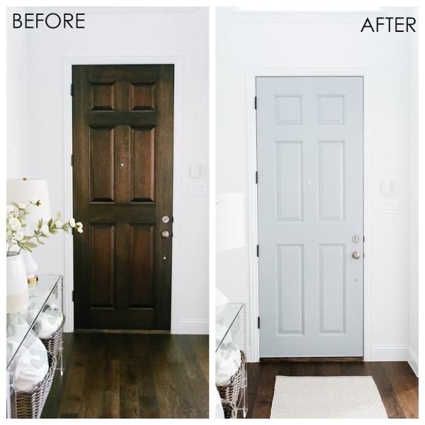 Interior Painted Front Door Makeover - Easy Entryway Update