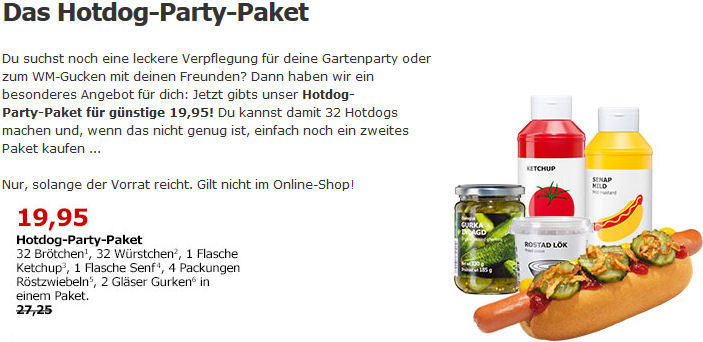 ikea hotdog party paket f r 19 95 statt 27 25. Black Bedroom Furniture Sets. Home Design Ideas