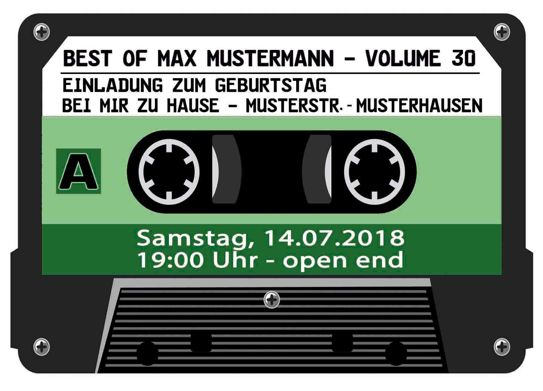 Musik Kassette 30 Geburtstag lila Einladung Musik