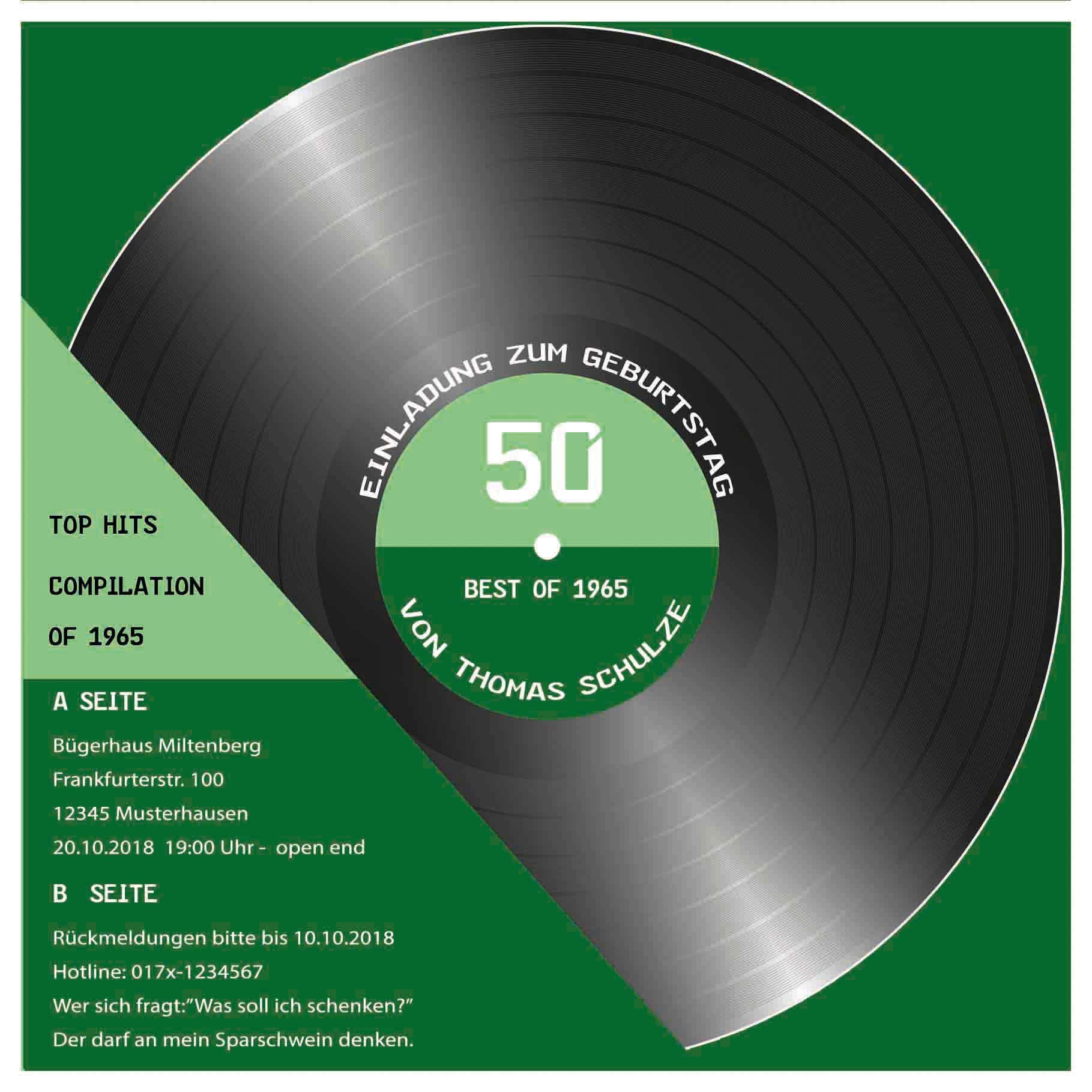 50 Geburtstag Einladung als CD Cover Schallplatte