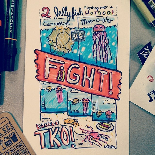 a comic about two jellyfish fighting over a hotdog