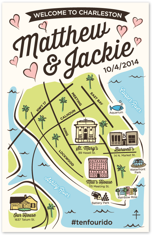 charleston wedding map
