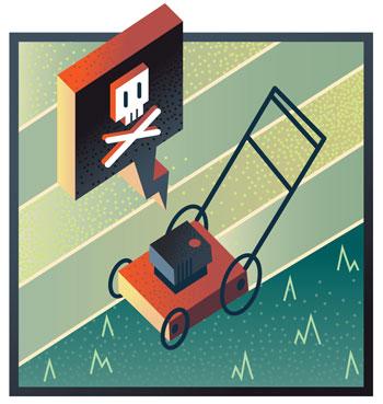 broken lawnmower illustration