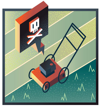 broken lawnmower illustration