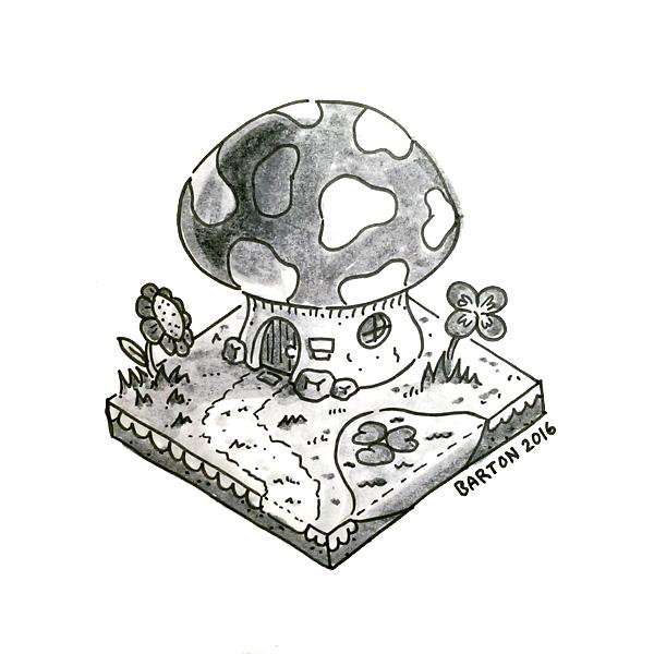 isometric mushroom house