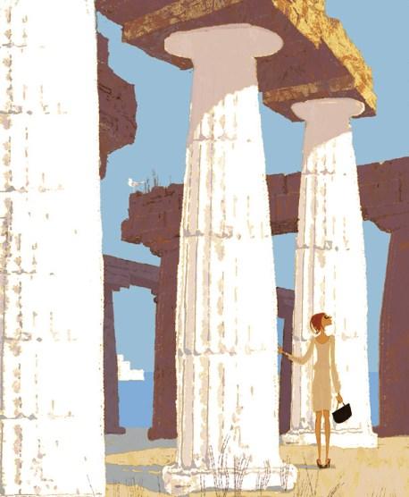 Segesta ruins. Illustration by Tadahiro Uesugi.