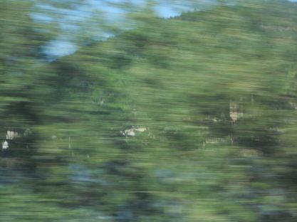 Intervening objects - Trees. Achieved by shooting out of a train window. A tantalizing glimpse of the view we cannot see. The green stripes throw the fleetingness of the moment into relief. The castle's essential quality – immobility – is beautifully captured.