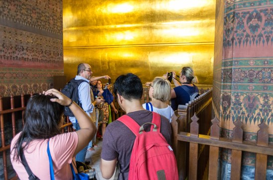Visiting the temples of Bangkok, this one from Wat Pho with it's 46 meter long Buddha chillaxing on the floor.