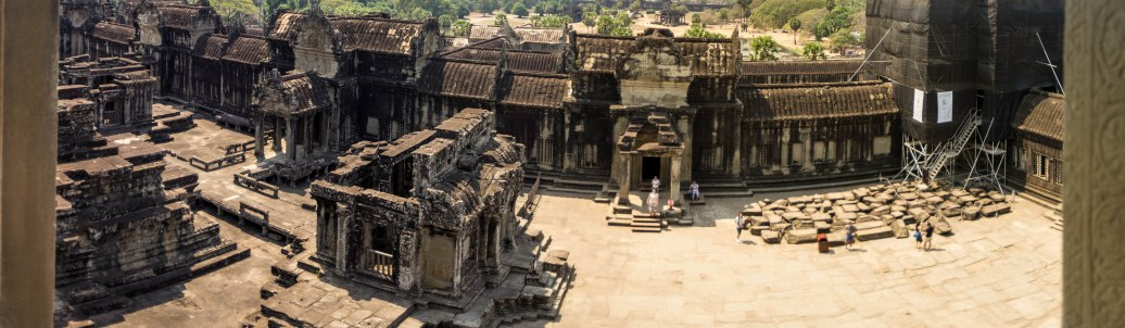 A panorama from the top of the temple in Angkor Wat into the courtyard below it.