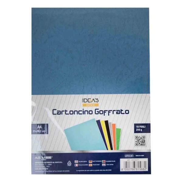 HX924231 CARTONCINO GOFFRATO BLU A4 210GR/MQ 10PZ