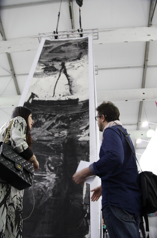"""Ink Monument,"" Lan Zhenghui's towering installation for Hong Kong Art Week, at Art Central"