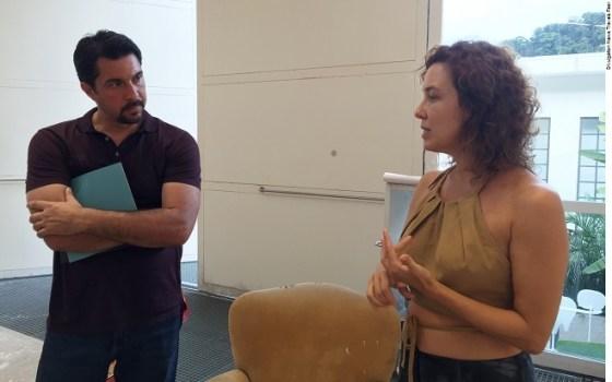 Klaudio Rodriguez (Curator of The Patricia & Phillip Frost Art Museum FIU) with superstar artist Adriana Varejao in her studio in Rio de Janeiro.