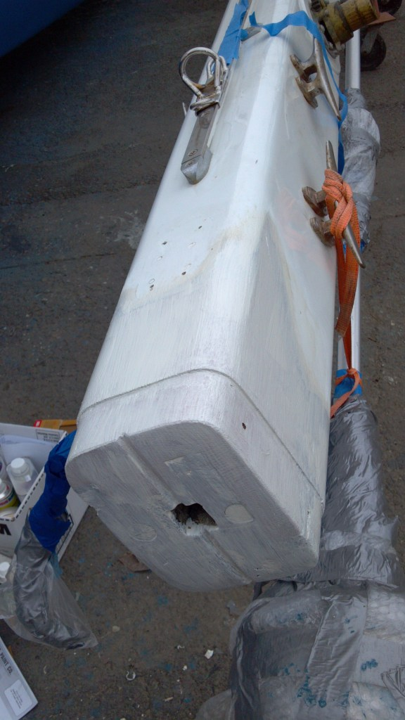 The main mast after priming
