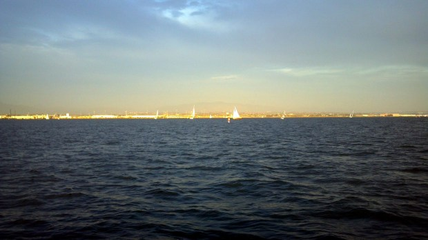 The NYCSD fleet out mixing with Coronado Cays Yacht Club's race