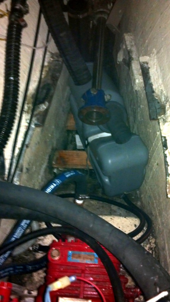 Installing the waterlift muffler deep in the bilge
