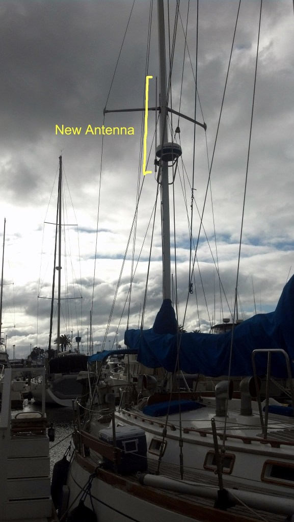 The new high gain external antenna is mounted on the mizzen mast.