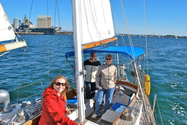 Sailing up the bay with Natalie, Dave and Laurie