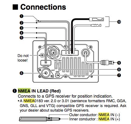 Icom M504 radio NMEA wiring from the online manual