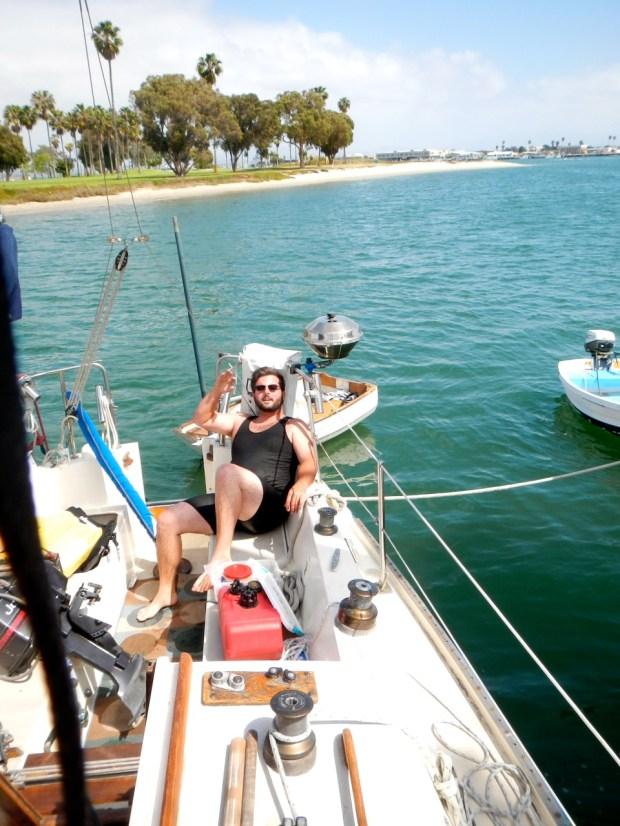 Mike made it safely back aboard s/v Sequoya