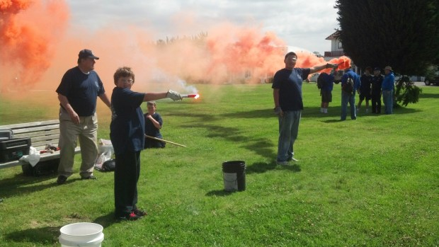 After our scouts lit off bright orange smoke