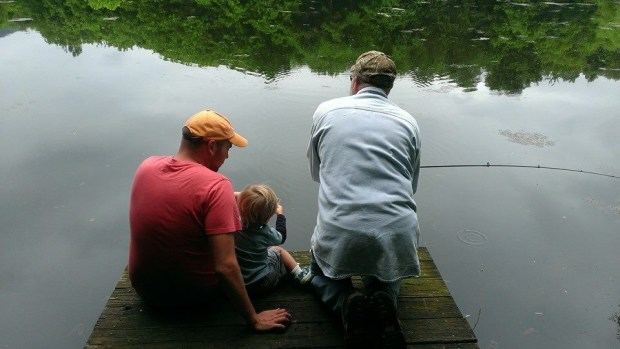 Sitting on the dock fishing with Pappy