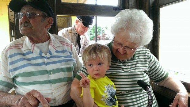 Train riding with Great Grandpa and Grandma Ness