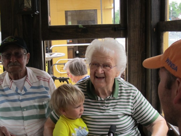 Sully rode with Great Grandpa and Great Grandma Ness