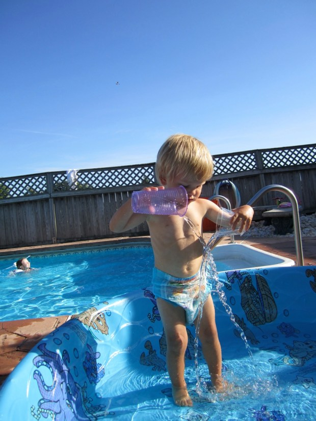 Swimming at Uncle Barry and Scott's pool