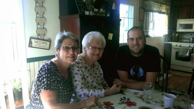We got to visit with Grandma Ness from next door