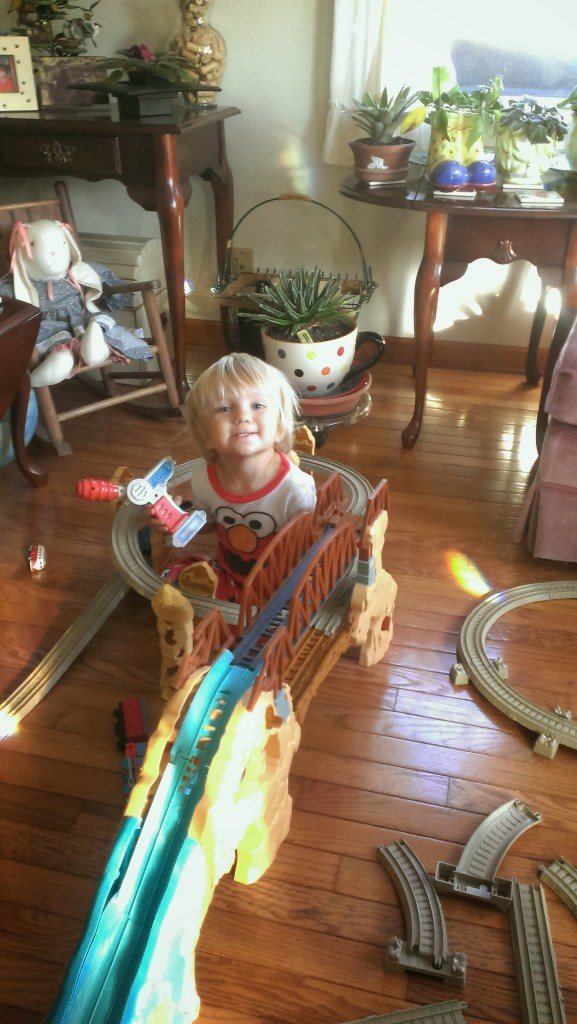 Sully played with trains still on loan from Uncle Scott