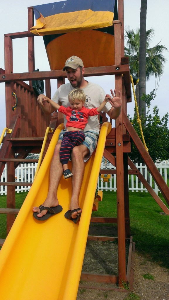 Quality Daddy Sully time on the steep slide at Southwestern Yacht Club