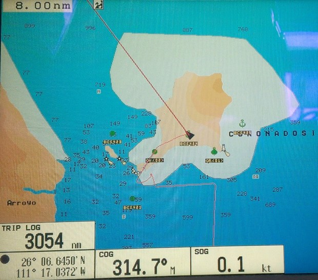 So here we are at anchor, in the middle of the island according to our chartplotter. Can you see why I wasn't trusting the chartplotter's position display (but should have been using my waypoints instead).