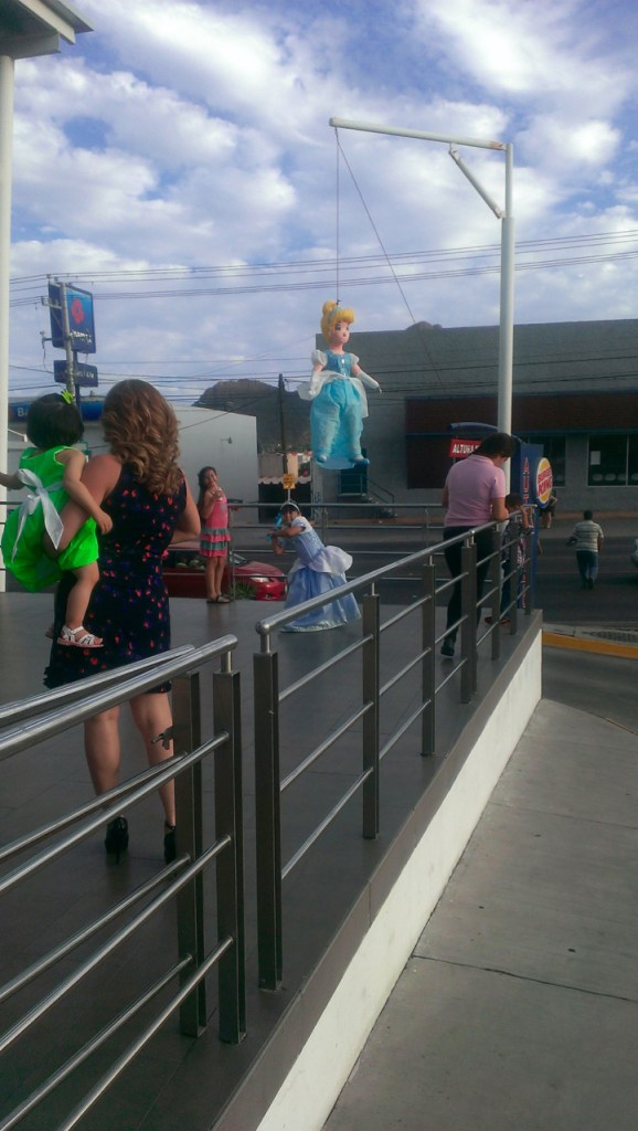 We went to Burger King to play and get an ice cream snack. A girl's princess birthday party included swatting at a piñata. There's a special pole outside the BK for just such an occasion