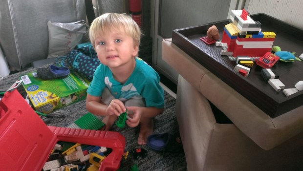 Playing with Legos in the camper
