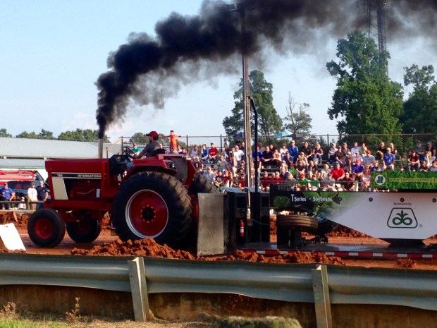 A big tractor at the end of it's pull