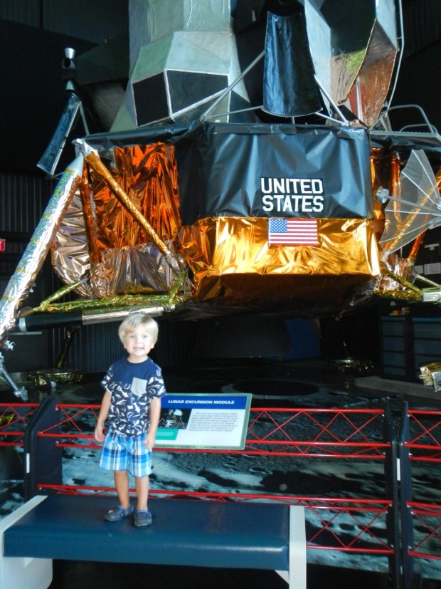 Sully and a lunar lander, just like in his book Roaring Rockets