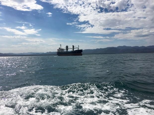 Passing a big ship at anchor