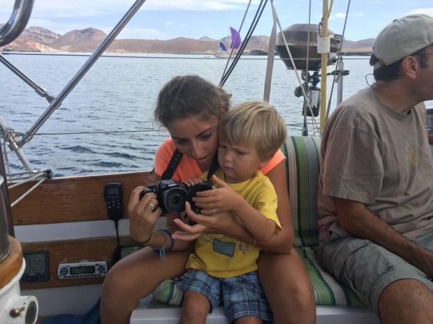Sully's buddy and babysitter Journey showed him some pictures she took during the race