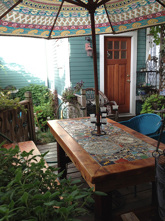 Reclaimed Wood Mosaic Patio Table Abodeacious