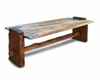 Rustic oak coffee table with turquoise inlay | Abodeacious