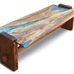 Live Edge Rustic Oak Coffee Table With Epoxy Resin Inlay