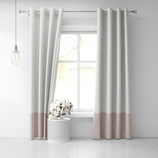Grommet Draperies - White-Pink Linen
