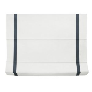 White and Navy Linen Roman Shade