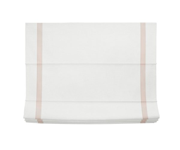 White and Pink Linen Roman Shade