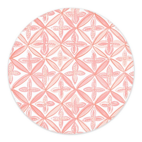 Pink and White Fret Pattern Circle Placemat