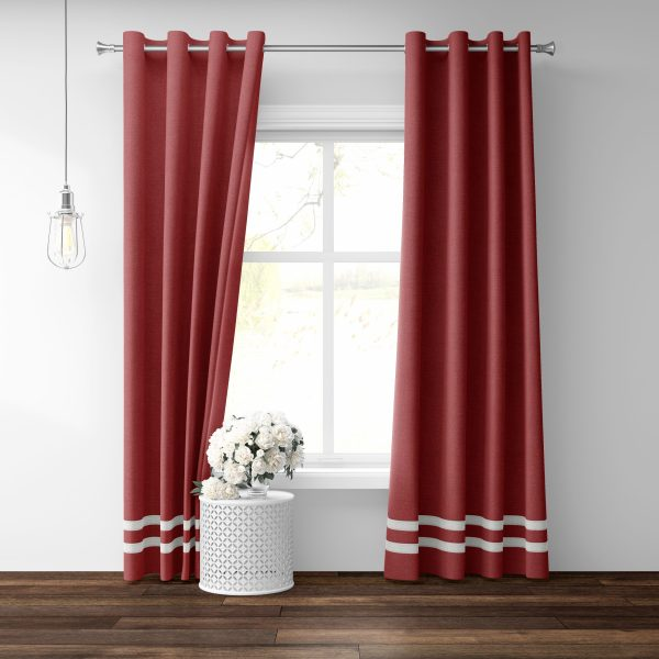 Red Linen Grommet Panel