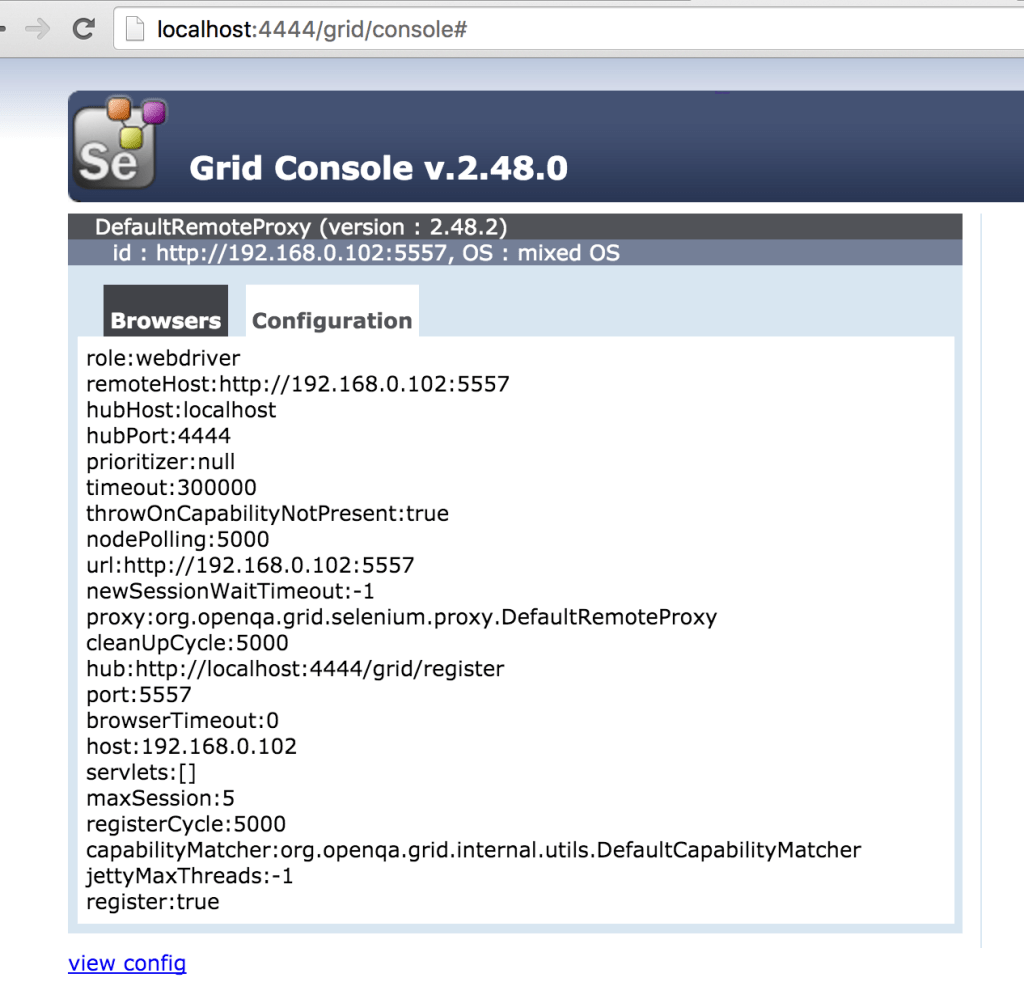 Selenium Grid console with Configuration detail