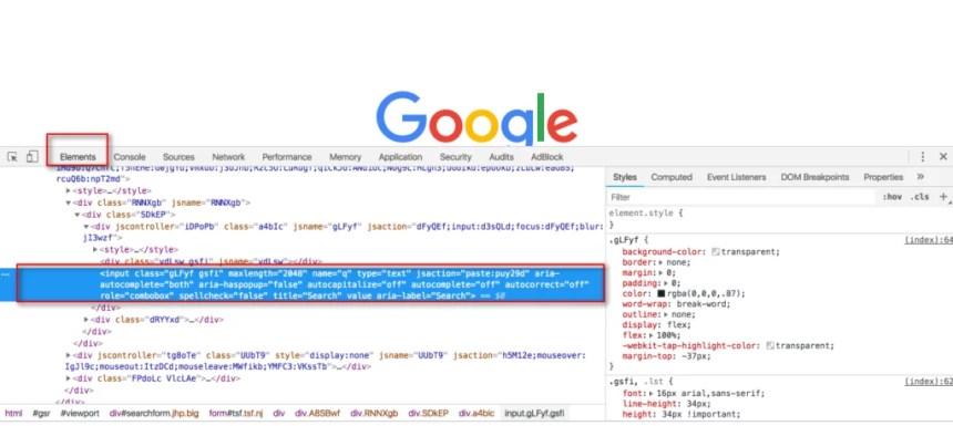 Inspect HTML Code in Chrome Developer Tool