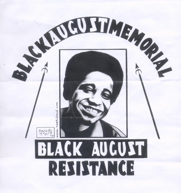 Black August Resistance poster, by Kevin 'Rashid' Johnson, via Black Opinion, August 26, 2016