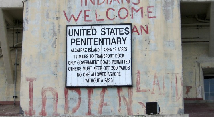 Sign on front of Alcatraz Penitentiary
